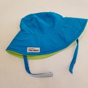 Flap Happy Sun Hat,  Blue Lime Green, S